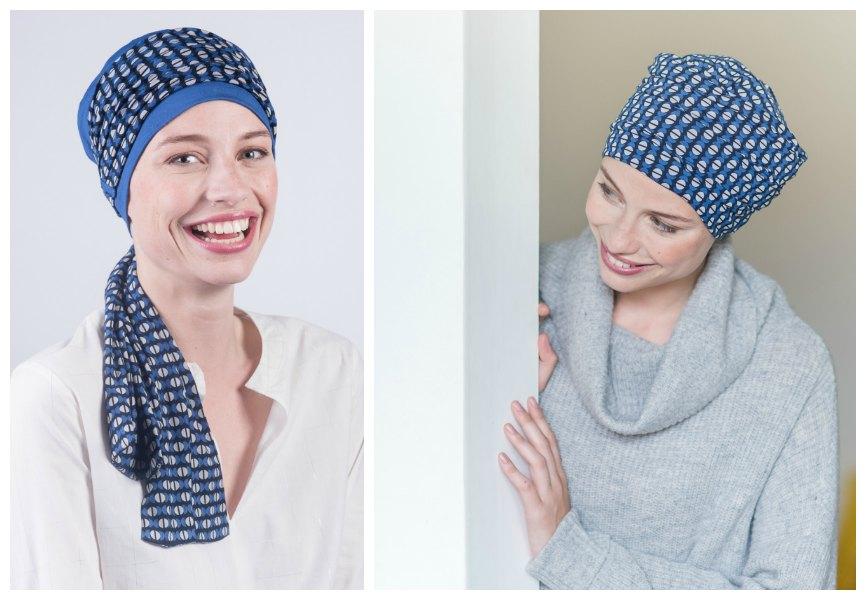 sjaals na chemo blauw rosette la vedette