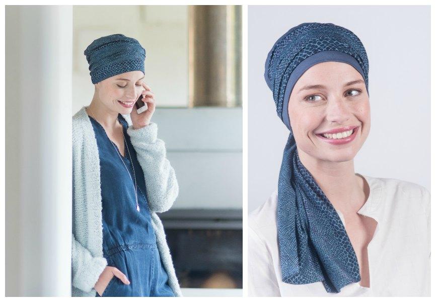 blauw kanker mutsje rosette la vedette
