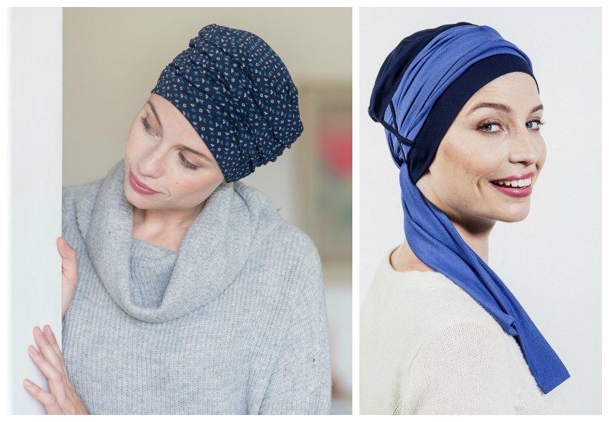 blauwe hoofdbedekking chemo rosette la vedette