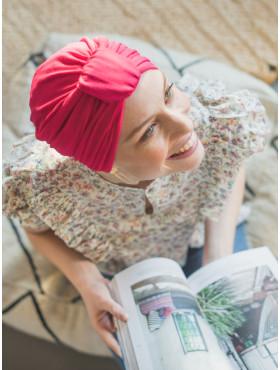 Chemo turban mutsje Ella - Fuchsia