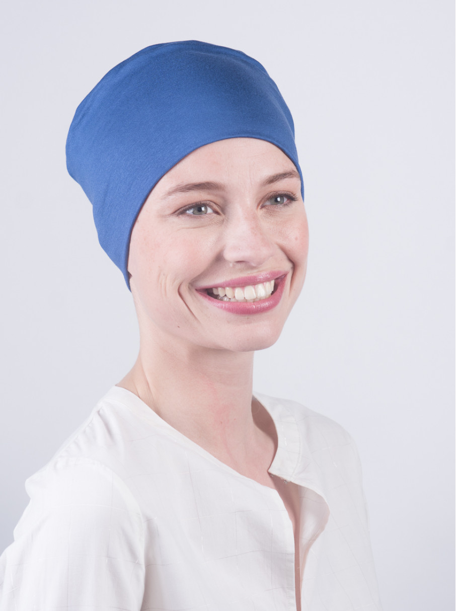 5d4f122c1b3 Blue CHemo Sleep Cap for a carefree night s sleep - Rosette la Vedette