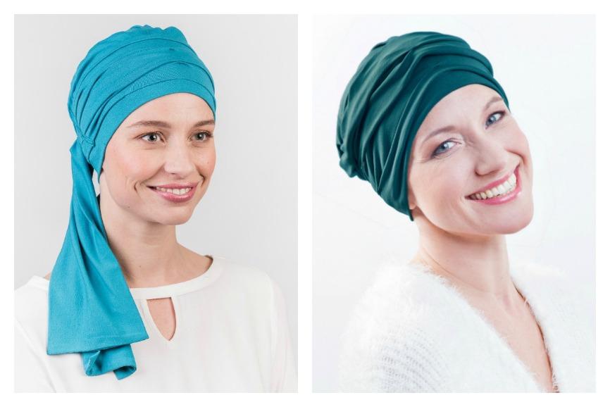turquoise chemo mutsjes rosette la vedette