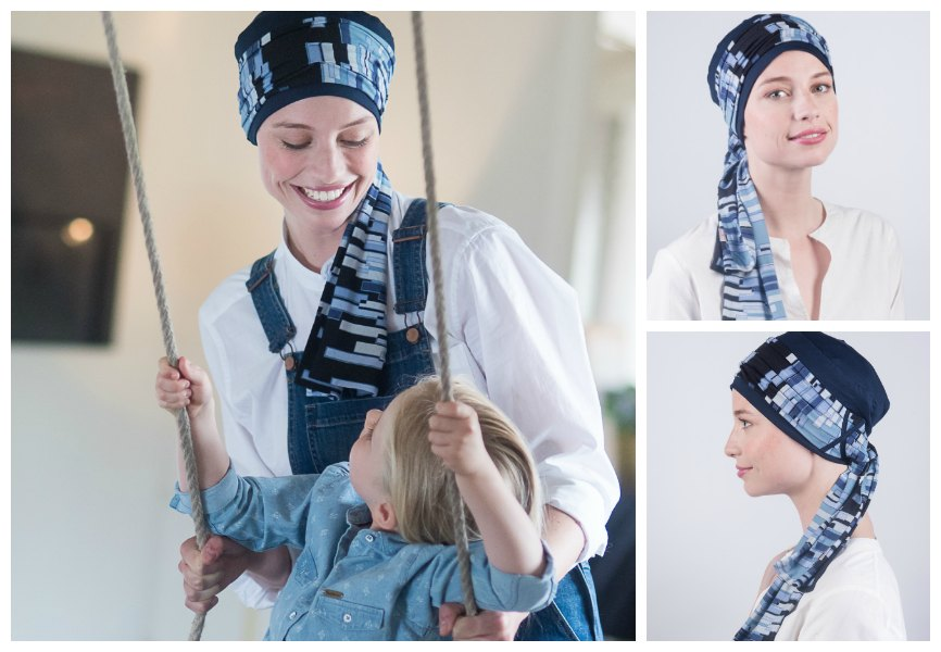 blauwe chemo sjaal rosette la vedette
