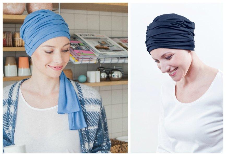 chemo hoofddoekjes blauw rosette la vedette